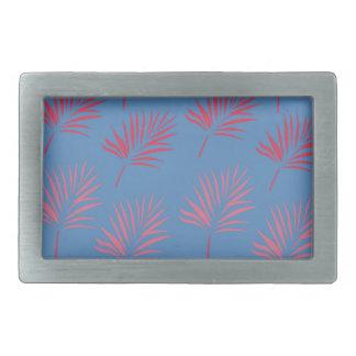 Design palms blue rectangular belt buckle