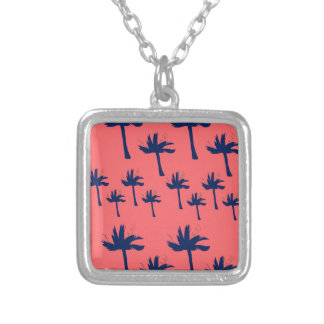 DESIGN Palms eco pink Silver Plated Necklace