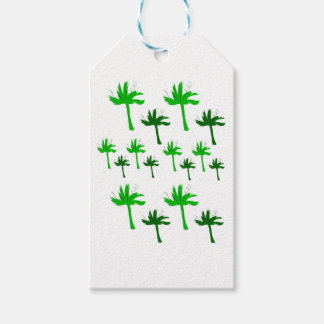 Design palms white green gift tags