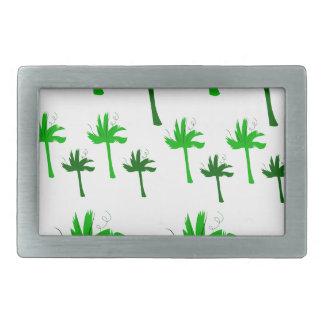 Design palms white green rectangular belt buckle