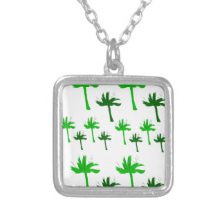 Design palms white green silver plated necklace