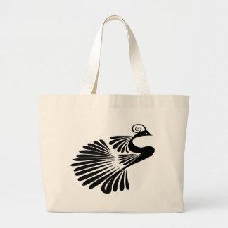 Design peacock large tote bag