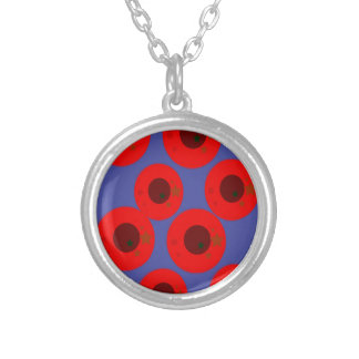 Design pink plums on blue silver plated necklace