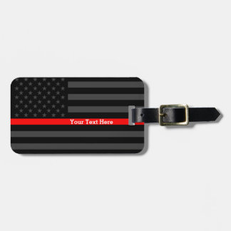 Design Thin Red Line Personalized Black US Flag Luggage Tag