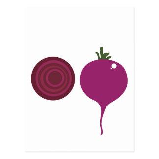Design vegies pink on white postcard