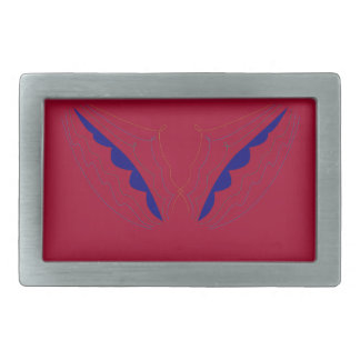 Design wings  red rectangular belt buckle