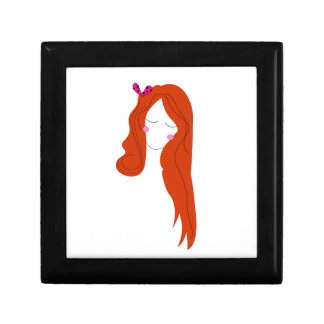 Design woman with long hair on white gift box