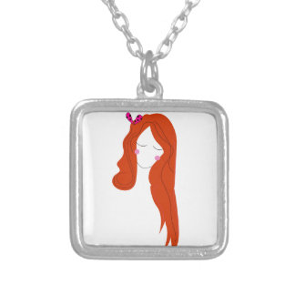 Design woman with long hair on white silver plated necklace