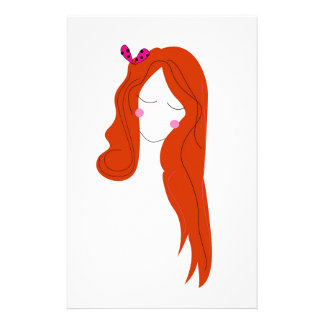 Design woman with long hair on white stationery