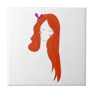 Design woman with long hair on white tile