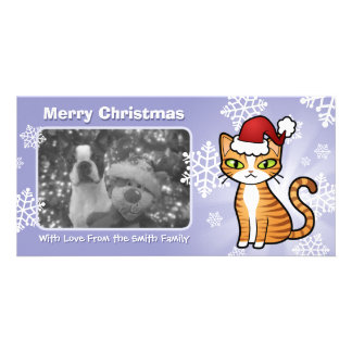 Design Your Own Cartoon Cat (Christmas) Photo Card Template