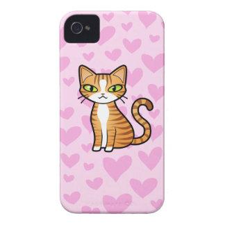 Design Your Own Cartoon Cat (love hearts) iPhone 4 Case-Mate Case
