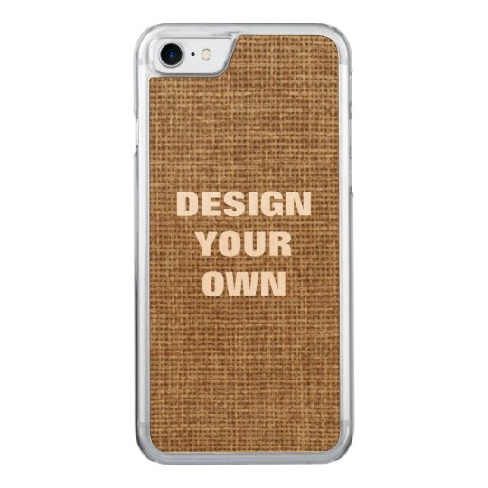 Design Your Own, Faux Burlap Background Carved iPhone 7 Case