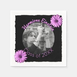 Design Your Own Graduation Photo | Purple Daisies Paper Napkins