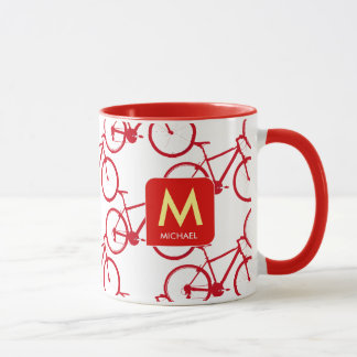 design your own initial with red bicycles mug