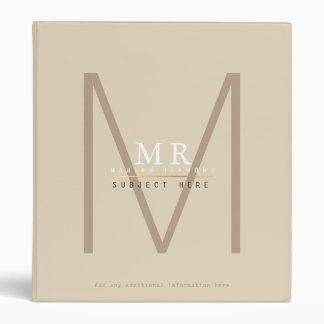 design your own monogram on beige pro or for study 3 ring binder