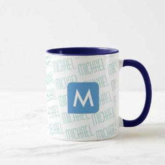 design your own name pattern blue color mug