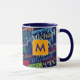 design your own name pattern colorful mug