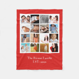 Design Your Own Photo Collage Mosaic Personalized Fleece Blanket