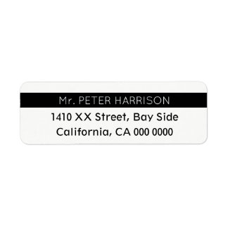 design your own striped blk & white Mr. Return Address Label