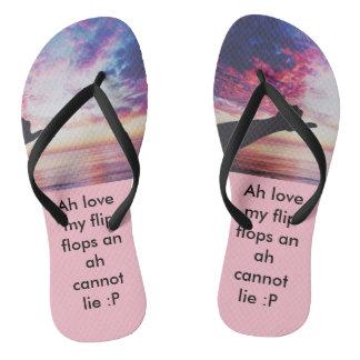 designed flip flop, pink with black straps flip flops
