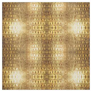 Designer Alligator Crocodile Skin Shiny Gold Brown Fabric