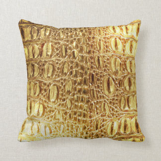 Designer Alligator Crocodile Skin Shiny Gold Throw Pillow