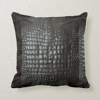 Designer Alligator Skin Dark Grey Matte Throw Pillow