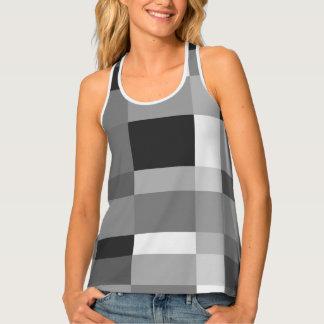 Designer black and white checkerboard pattern tank top