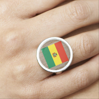 Designer Bolivia Flag Box Ring