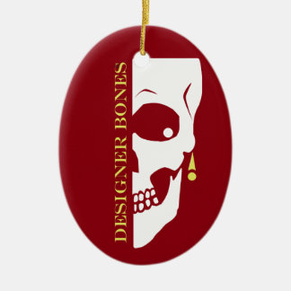 Designer Bones Skull Ceramic Oval Ornament