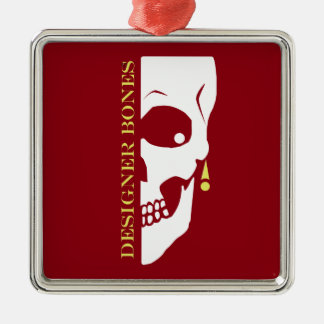 Designer Bones Skull Silver-Colored Square Ornament