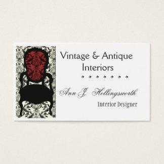 Designer Decorator Victorian Damask Floral  Chair Business Card