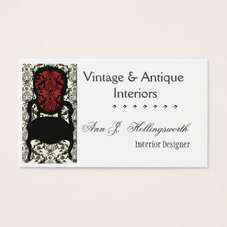 Designer Decorator Victorian  Lace Damask Chair Business Card