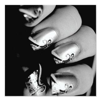 "Designer Fingernails 5.25"" Square Invitation Card"