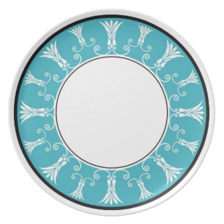 Designer Floral Border -  Blue On White Plate