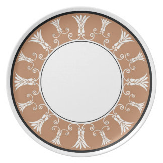 Designer Floral Border - Brown On White Party Plate