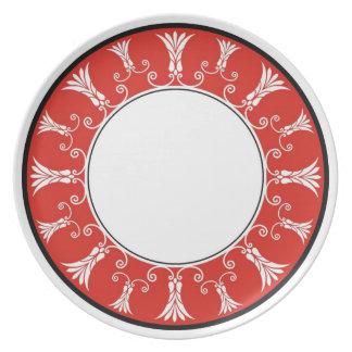 Designer Floral Border -   Red White Dinner Plate