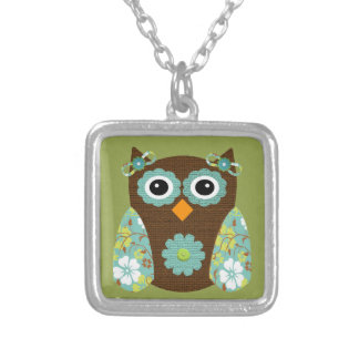 Designer Flower Owl Silver Plated Necklace