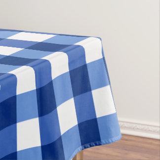 Designer gingham pattern blue tablecloth
