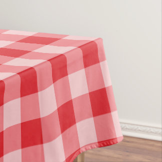 Designer gingham pattern red and white tablecloth