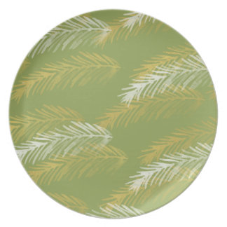 Designer Gold & White Leaves | Green Dinner Plate