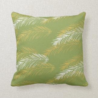Designer Gold & White Leaves | Green Throw Pillow