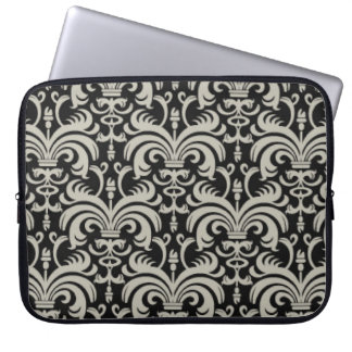 Designer Laptop Sleeve:Black Damask Laptop Sleeve