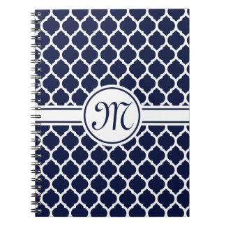 Designer Navy Monogrammed Moroccan Lattice Pattern Notebooks