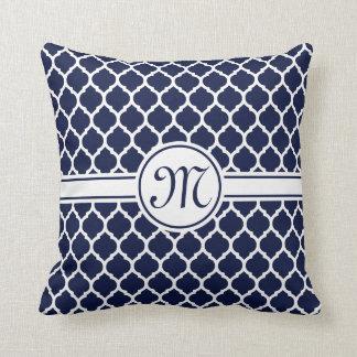 Designer Navy Monogrammed Moroccan Lattice Pattern Throw Pillow