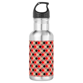 Designer plaid / gingham  pattern red and beige 532 ml water bottle