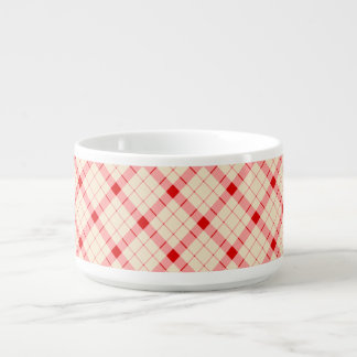 Designer plaid / gingham  pattern red and beige bowl