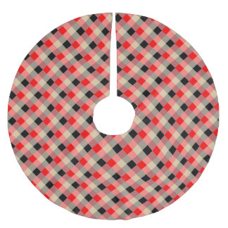 Designer plaid / gingham  pattern red and beige brushed polyester tree skirt
