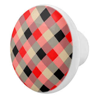 Designer plaid / gingham  pattern red and beige ceramic knob